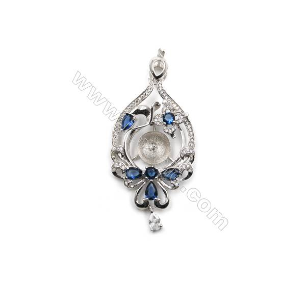 925 sterling silver platinum plated zircon pendant, 28x45 mm, x 5 pcs, Tray 12 mm