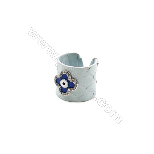 Snakeskin Rings(Adjustable), with Platinum Plated Brass Micro Pave Cubic Zirconia, Flower, Width 21mm, Size 20mm