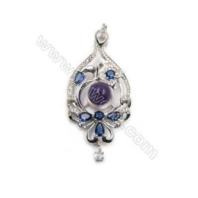 925 sterling silver platinum plated zircon pendant-D5727 28x45 mm x 5 pcs Diameter 12 mm