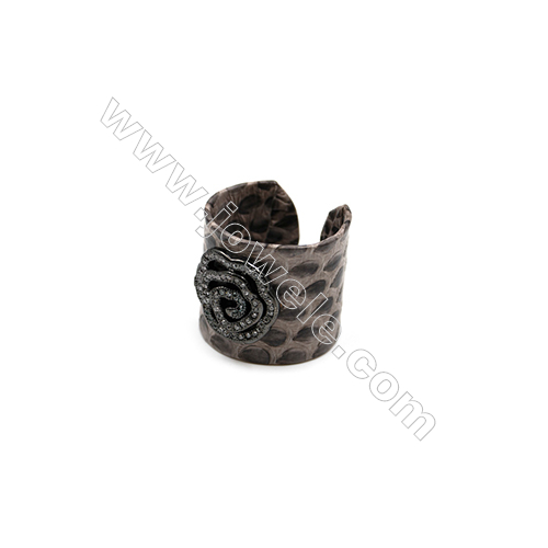 Snakeskin Rings(Adjustable), with Gun Black Plated Brass Micro Pave Cubic Zirconia, Rose, Width 21mm, Size 20mm