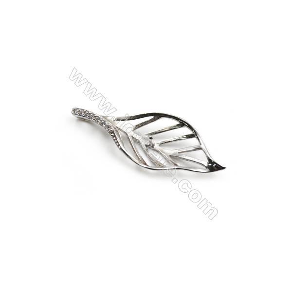 Wholesale 925 sterling silver platinum plated zircon pendant, 14x36mm, x 5 pcs
