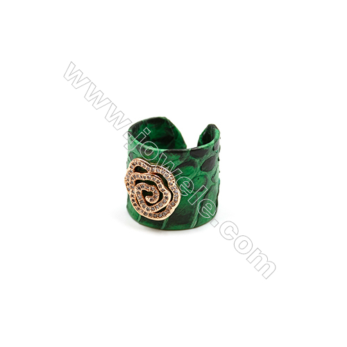Snakeskin Rings(Adjustable), with Rose Gold Plated Brass Micro Pave Cubic Zirconia, Rose, Width 21mm, Size  20mm