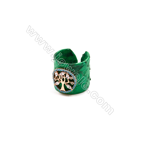Snakeskin Rings(Adjustable), with Rose Gold Plated Brass Micro Pave Cubic Zirconia, Life Tree, Width 21mm, Size 20mm
