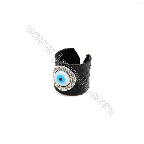 Snakeskin Rings(Adjustable), with Platinum Plated Brass Micro Pave Cubic Zirconia, Eyes, Size 21mm, Inside Diameter 20mm