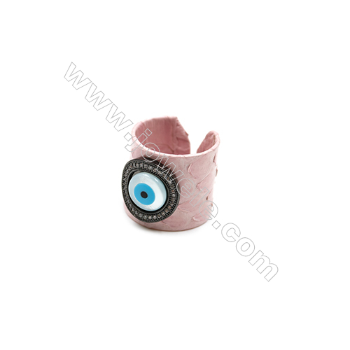Snakeskin Rings(Adjustable), with Gun Black Plated Brass Micro Pave Cubic Zirconia, Eyes, Width 21mm, Size 20mm