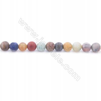 Frosted Mixed Stone Beads Strand  Round  Diameter 6mm  hole 1mm  about 68 beads/strand  15~16""