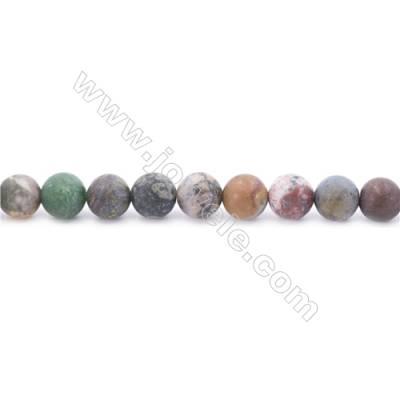 Frosted Mixed Stone Beads Strand  Round  Diameter 8mm  hole 1mm  about 50 beads/strand  15~16""
