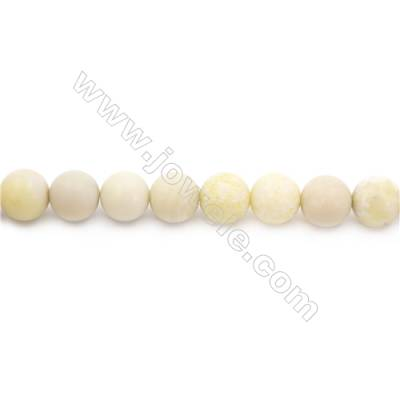 Frosted Australian Butter Jade Beads Strand  Round  Diameter 10mm  hole 1mm  about 41 beads/strand  15~16""