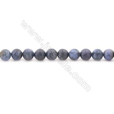 Frosted Dumortierite  Beads Strand  Round  Diameter 6mm  hole 1mm  about 67 beads/strand  15~16""