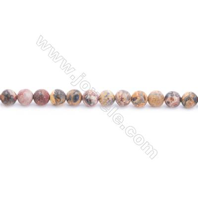 Frosted Leopard Skin Jasper Beads Strand  Round  Diameter 6mm  hole 1mm  about 56 beads/strand  15~16""