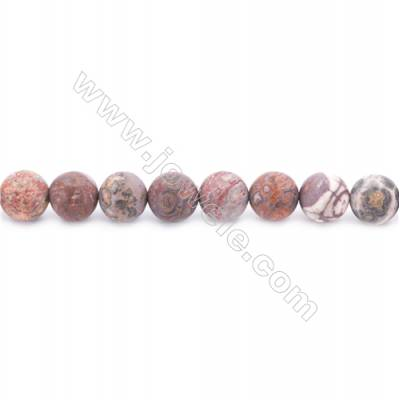 """Frosted Leopard Skin Jasper Beads Strand  Round  Diameter 10mm  hole 1mm  about 39 beads/strand  15~16"""""""