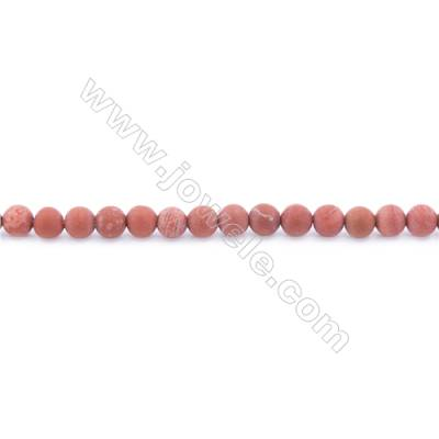 Frosted Red Jasper Beads Strand  Round  Diameter 4mm  hole 0.8mm  about 98 beads/strand  15~16""