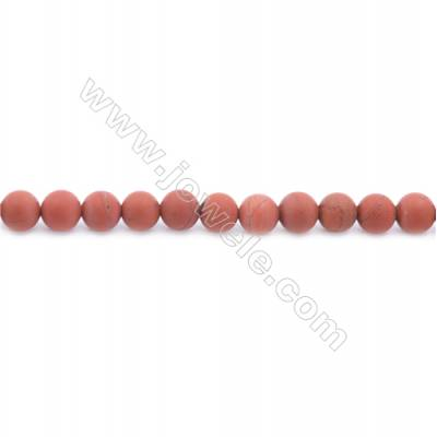 Frosted Red Jasper Beads Strand  Round  Diameter 6mm  hole 1mm  about 62 beads/strand  15~16""
