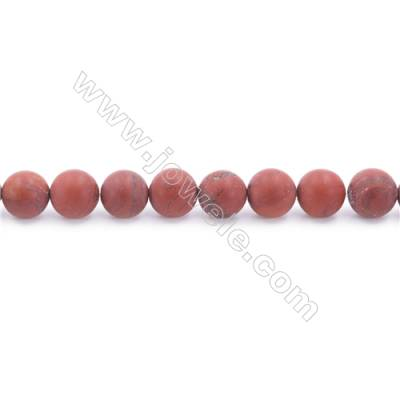 Frosted Red Jasper Beads Strand  Round  Diameter 8mm  hole 1mm  about 49 beads/strand  15~16""