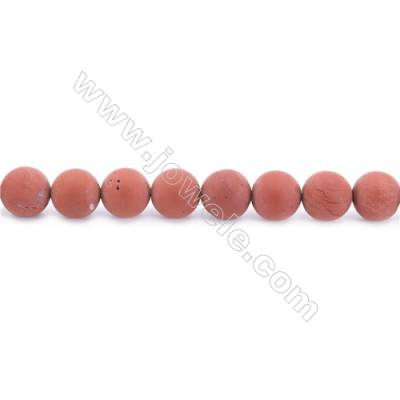 Frosted Red Jasper Beads Strand  Round  Diameter 10mm  hole 1mm  about 40 beads/strand  15~16""