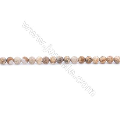 Frosted Picture Jasper Beads Strand  Round  Diameter 4mm  hole 1mm  about 98 beads/strand  15~16""