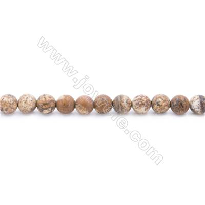 Frosted Picture Jasper Beads Strand  Round  Diameter 6mm  hole 1mm  about 68 beads/strand  15~16""