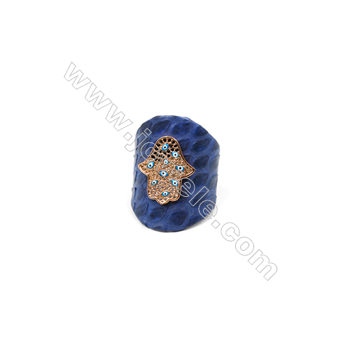 Snakeskin Rings(Adjustable), with Rose Gold Plated Brass Micro Pave Cubic Zirconia, Hand, Width 31mm, Size 20mm