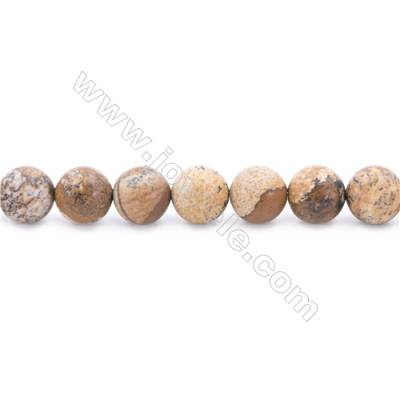 Frosted Picture Jasper Beads Strand  Round  Diameter 10mm  hole 1mm  about 40 beads/strand  15~16""