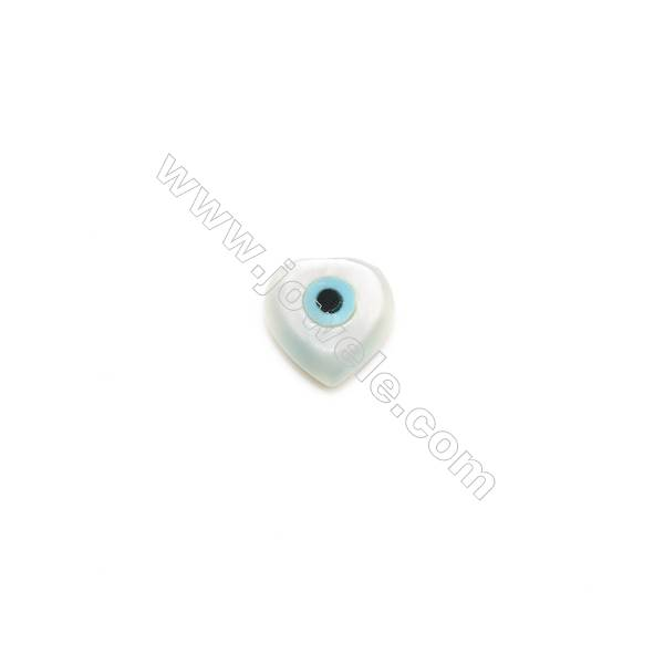 White mother-of-pearl shell with blue evil eye, 6x6mm, hole 0.8mm, 30pcs/pack