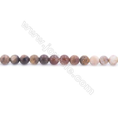 Frosted Wood Opalite Beads Strand  Round  Diameter 6mm  hole 1mm  about 65 beads/strand  15~16""
