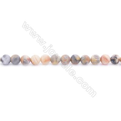 Frosted Crazy Lace Agate Beads Strand  Round  Diameter 6mm  hole 1mm  about 66 beads/strand  15~16""