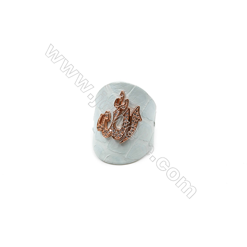 Snakeskin Rings(Adjustable), with Rose Gold Plated Brass Micro Pave Cubic Zirconia, Volcano, Width 31mm, Size 20mm