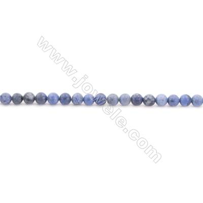 Frosted Dumortierite AA Beads Strand  Round  Diameter 4mm  hole 0.8mm  about 93 beads/strand 15~16""