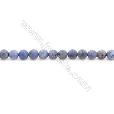 Frosted Dumortierite AA Beads Strand  Round  Diameter 6mm  hole 1mm  about 64 beads/strand 15~16""