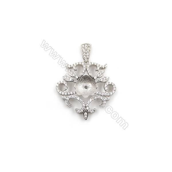 Sterling silver 925 platinum plated zircon pendant, 24mm, x 5pcs, Tray 9mm