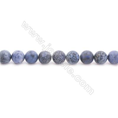 Frosted Dumortierite AA Beads Strand  Round  Diameter 8mm  hole 1mm  about 49 beads/strand 15~16""