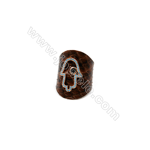Snakeskin Rings(Adjustable), with Rose Gold Plated Brass Micro Pave Cubic Zirconia, Hand, Width 30mm, Size 20mm