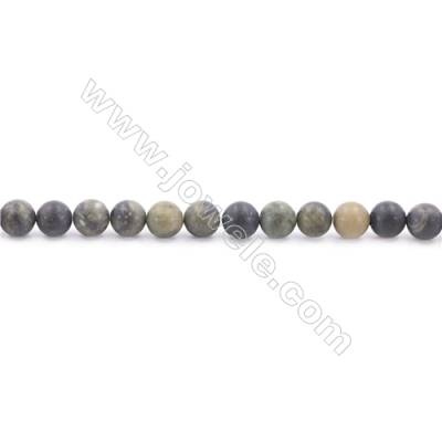Frosted African Green Autumn Jasper Beads Strand  Round  Diameter 6mm  hole 1mm  about 63 beads/strand 15~16""