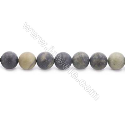 Frosted African Green Autumn Jasper Beads Strand  Round  Diameter 10mm  hole 1mm  about 39 beads/strand 15~16""