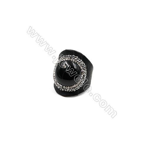 Snakeskin Rings(Adjustable), with Black Agate Micro Pave Cubic Zirconia, Round, Width 31mm, Size 20mm