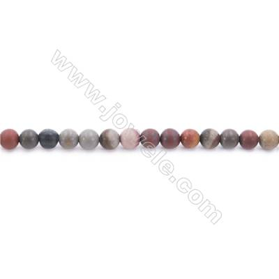 """Frosted Polychrome Jasper Beads Strand  Round  Diameter 4mm  hole 0.8mm  about 96 beads/strand 15~16"""""""