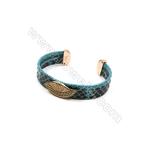 Snakeskin Bracelet (Adjustable), with Gold Plated Brass Micro Pave Cubic Zirconia, Eyes, Size 14mm, Inside Diameter 51mm, x1pc