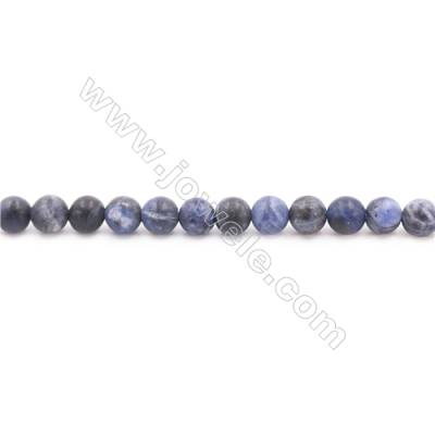 Frosted Sodalite Beads Strand  Round  Diameter 6mm  hole 1mm  about 62 beads/strand 15~16""