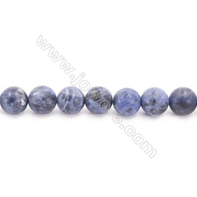 Frosted Sodalite Beads Strand  Round  Diameter 10mm  hole 1mm  about 38 beads/strand 15~16""