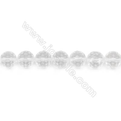 Natural Rock Crystal Beads Strand Faceted Round  Diameter 10mm  hole 1mm  about 39 beads/strand 15~16""