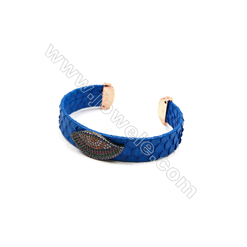 Snakeskin Bracelet (Adjustable), with Gun Black Plated Brass Pave Cubic Zirconia, Eyes, Size 14mm, Inside Diameter 51mm, x1pc