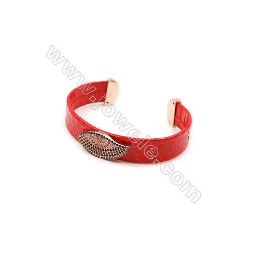 Snakeskin Bracelet (Adjustable), with Rose Gold Plated Brass Pave Cubic Zirconia, Eyes, Size 14mm, Inside Diameter 51mm, x1pc