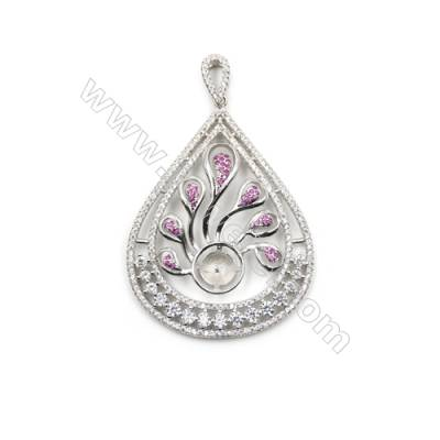 925 Sterling silver platinum plated CZ pendant, 39x52mm, x 5pcs, tray 11mm