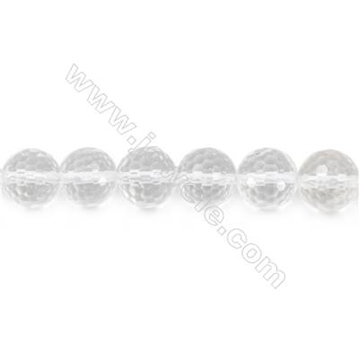 Rock Crystal Beads Strand  Faceted Round  Diameter 12mm  hole 1.5mm  about 33 beads/strand 15~16""