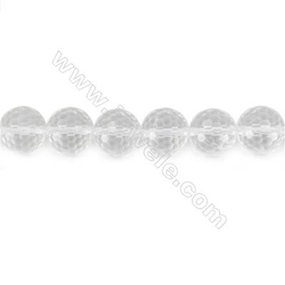 Rock Crystal Beads Strand  Faceted Round  Diameter 14mm  hole 1.5mm  about 28 beads/strand 15~16""