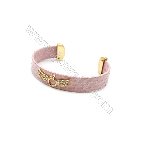 Snakeskin Bracelet (Adjustable), with Gold Plated Brass Micro Pave Cubic Zirconia, Wing, Size 14x67mm, Inside Diameter 55mm