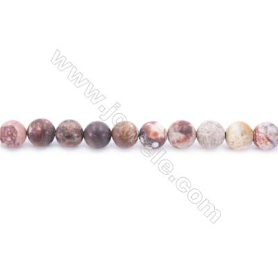 Frosted Birdseye Rhyolite Jasper Beads Strand  Round  Diameter 8mm  hole 1mm  about 50 beads/strand 15~16""