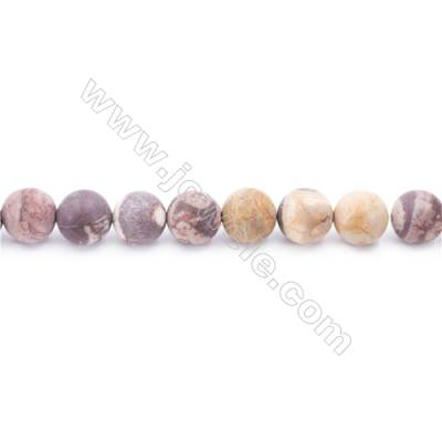 Frosted Birdseye Rhyolite Jasper Beads Strand, Round, Diameter 10mm, Hole 1mm, about 41 beads/strand 15~16""