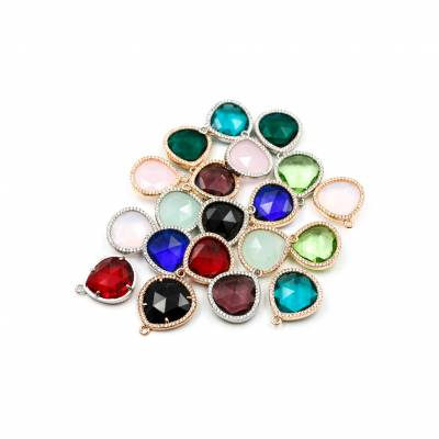 20x21mm  Faceted Glass Pendant, Teardrop, Gold and Silver Plated Brass, Hole 1.5mm, 10pcs/pack