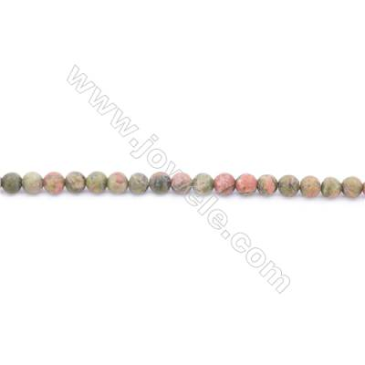 Frosted Unakite Beads Strand  Round  Diameter 4mm  hole 0.8mm  about 101 beads/strand 15~16""